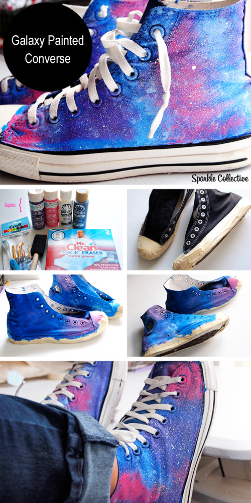Best ideas about Galaxy Paint DIY . Save or Pin DIY Painted Converse Sneakers s and Now.