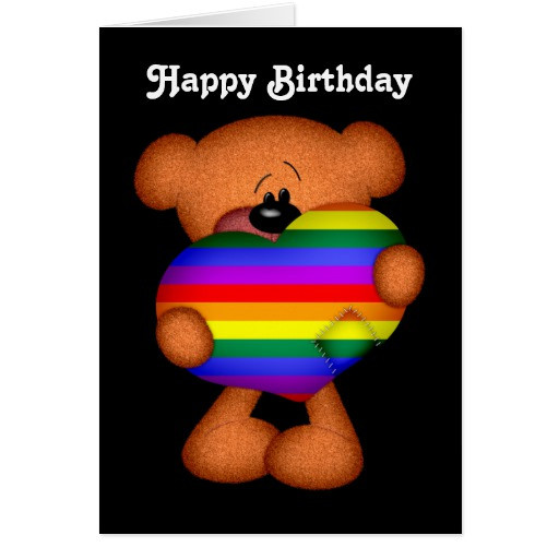Best ideas about Gay Birthday Wishes . Save or Pin Pride Heart Teddy Bear Happy Birthday Greeting Card Now.