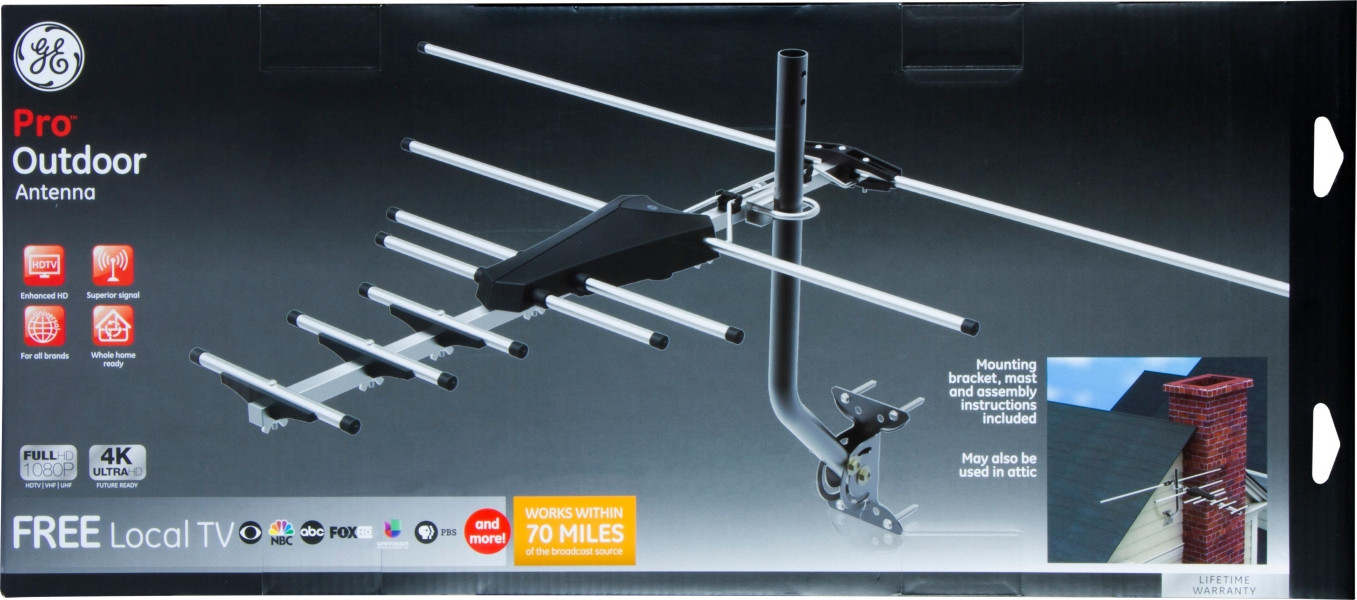 Best ideas about Ge Pro Outdoor Antenna . Save or Pin GE Pro Outdoor Yagi Antenna 70 Mile Range VHF UHF Channels Now.