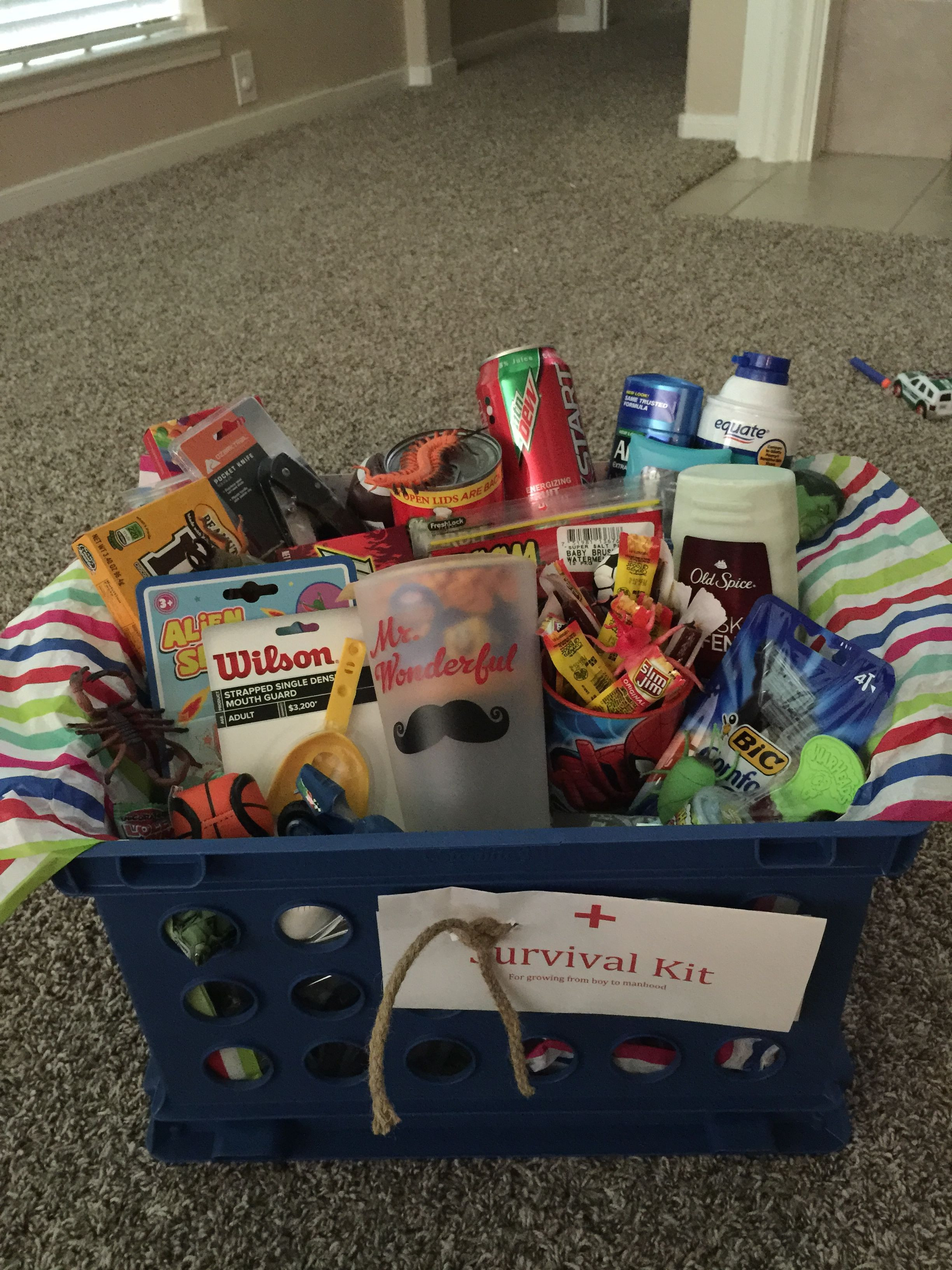 Best ideas about Gift Basket Ideas For Boys . Save or Pin TEENAGER SURVIVAL KIT Awesome t basket for a teenage Now.