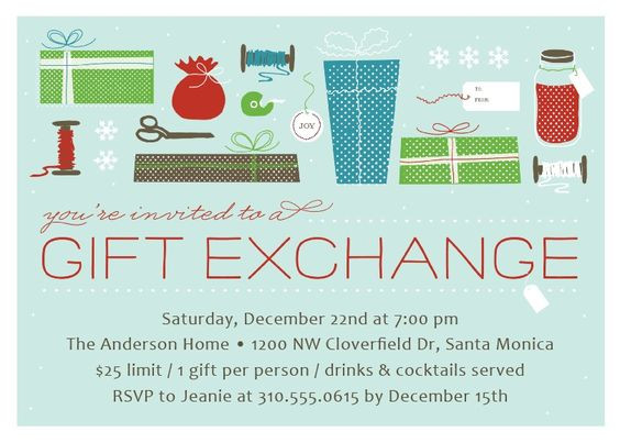 Best ideas about Gift Exchange Ideas For Kids . Save or Pin Gift Exchange Christmas Party Invitation Now.