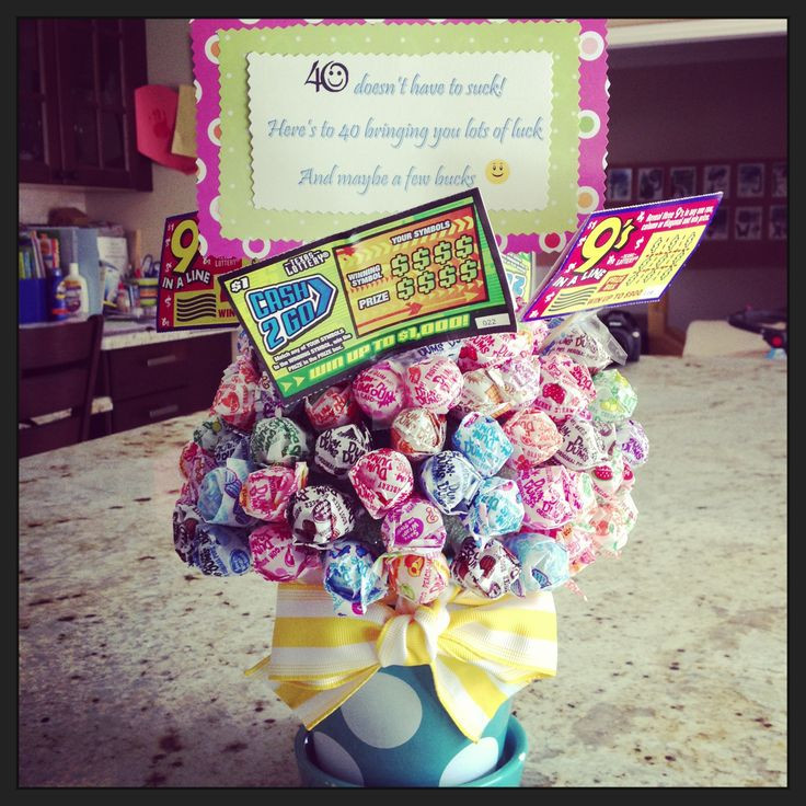 Best ideas about Gift Ideas For 40th Birthday Female . Save or Pin 40th birthday t Sucker bouquet with lotto tickets Now.