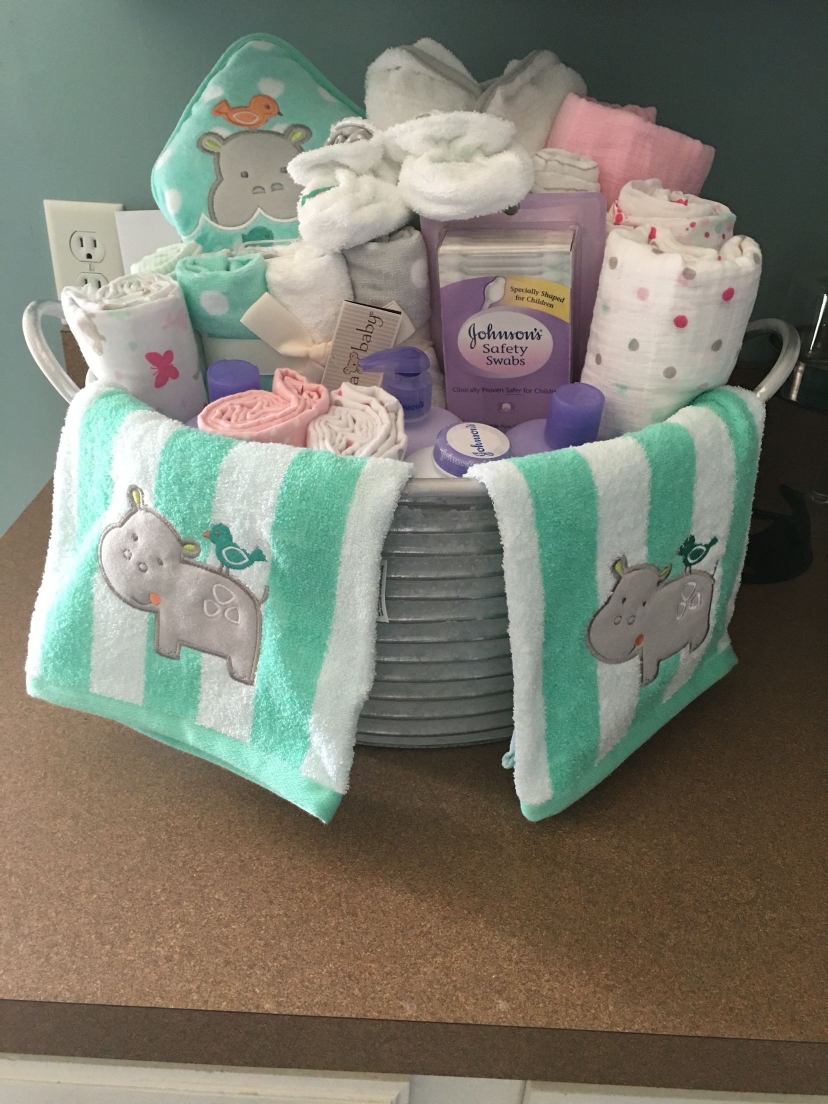 Best ideas about Gift Ideas For Baby Shower . Save or Pin Baby shower present I made Galvanized bucket with baby Now.