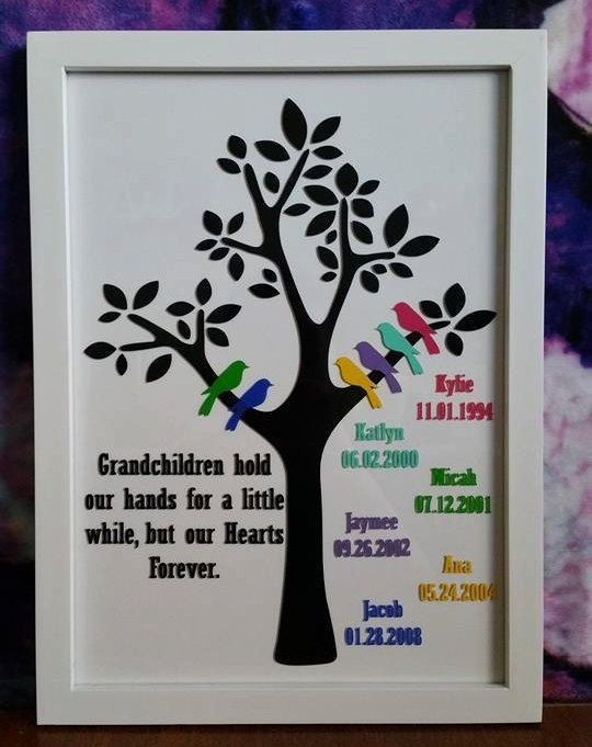 Best ideas about Gift Ideas For Great Grandma . Save or Pin Grandparent Family Tree Frame 6 Grandchildren Custom Now.