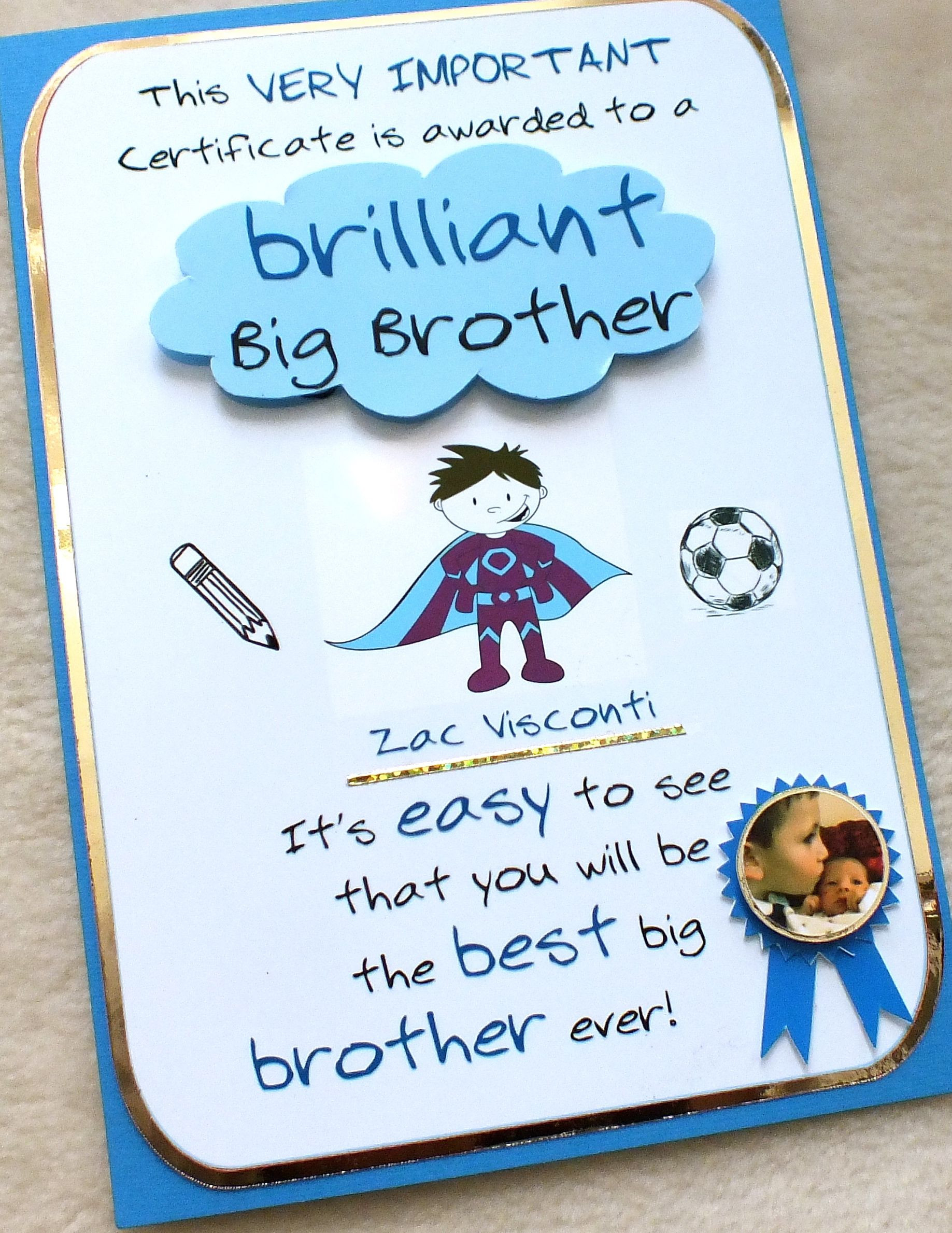 Best ideas about Gift Ideas For Sibling From New Baby . Save or Pin New Big Brother Certificate Card handmade by mandishella Now.