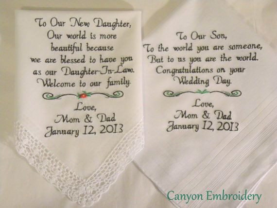 Best ideas about Gift Ideas For Son In Law . Save or Pin Wedding Gifts Embroidered Wedding Hankercheifs for Now.
