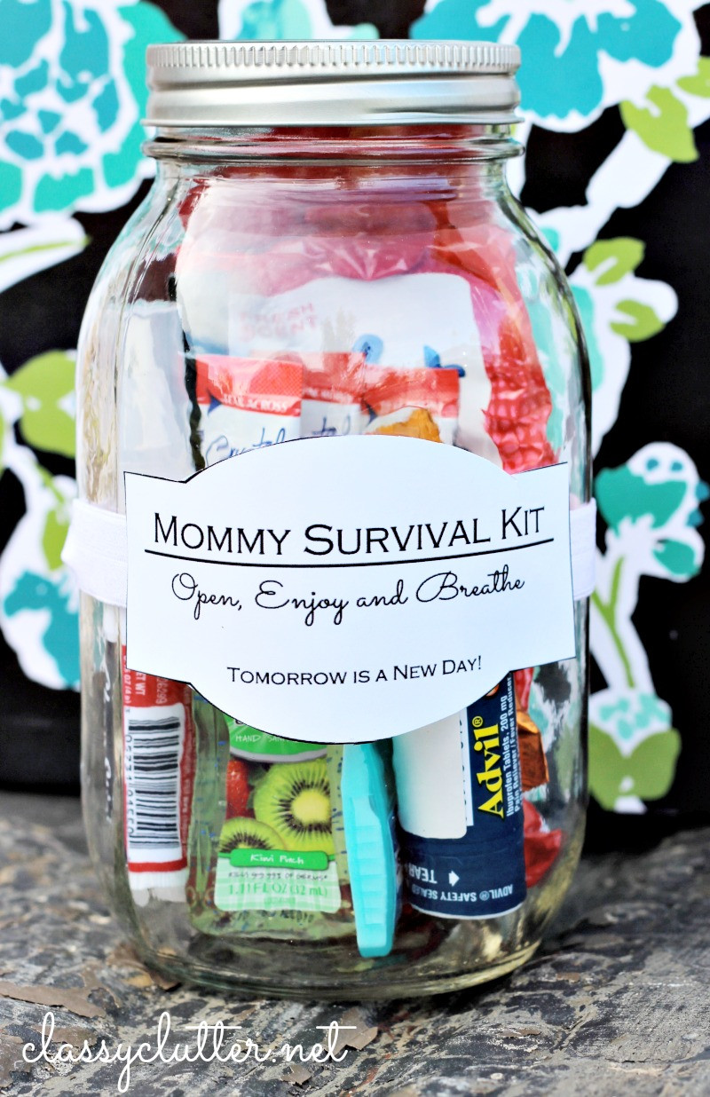 Best ideas about Gift Ideas With Pictures . Save or Pin Mommy Survival Kit in a Jar Classy Clutter Now.