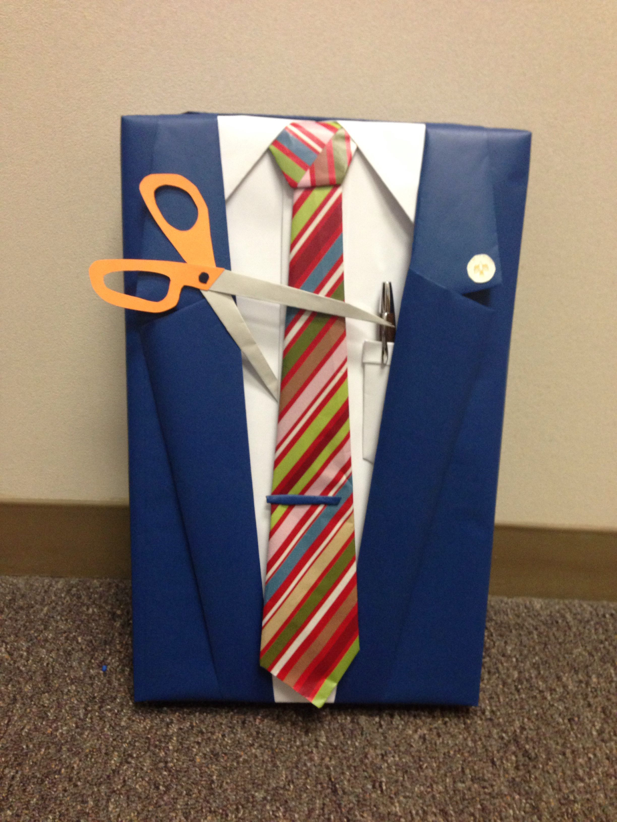 Best ideas about Gift Wrapping Ideas For Him . Save or Pin Retirement t wrap idea manly t wrap Suit and tie Now.
