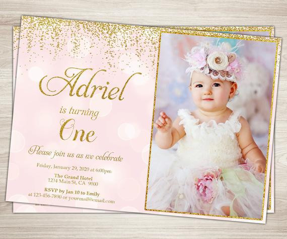 Best ideas about Girl First Birthday Invitations . Save or Pin First Birthday Invitation Girl 1st Birthday Invitation Pink Now.