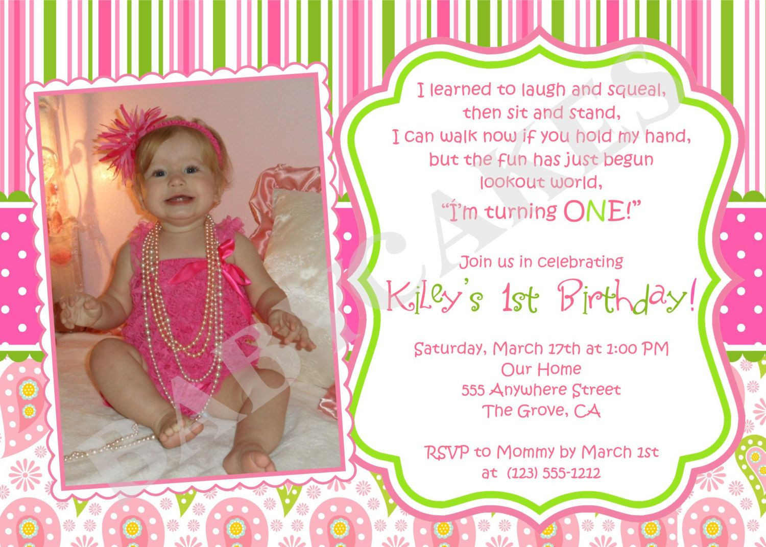 Best ideas about Girl First Birthday Invitations . Save or Pin 1st birthday girl themes Now.