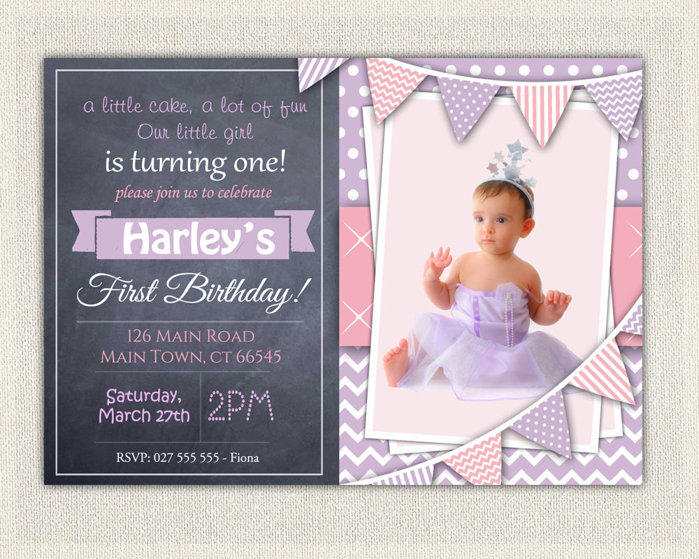 Best ideas about Girl First Birthday Invitations . Save or Pin 1st Birthday Invitation Purple and Pink Girls Chalkboard Now.