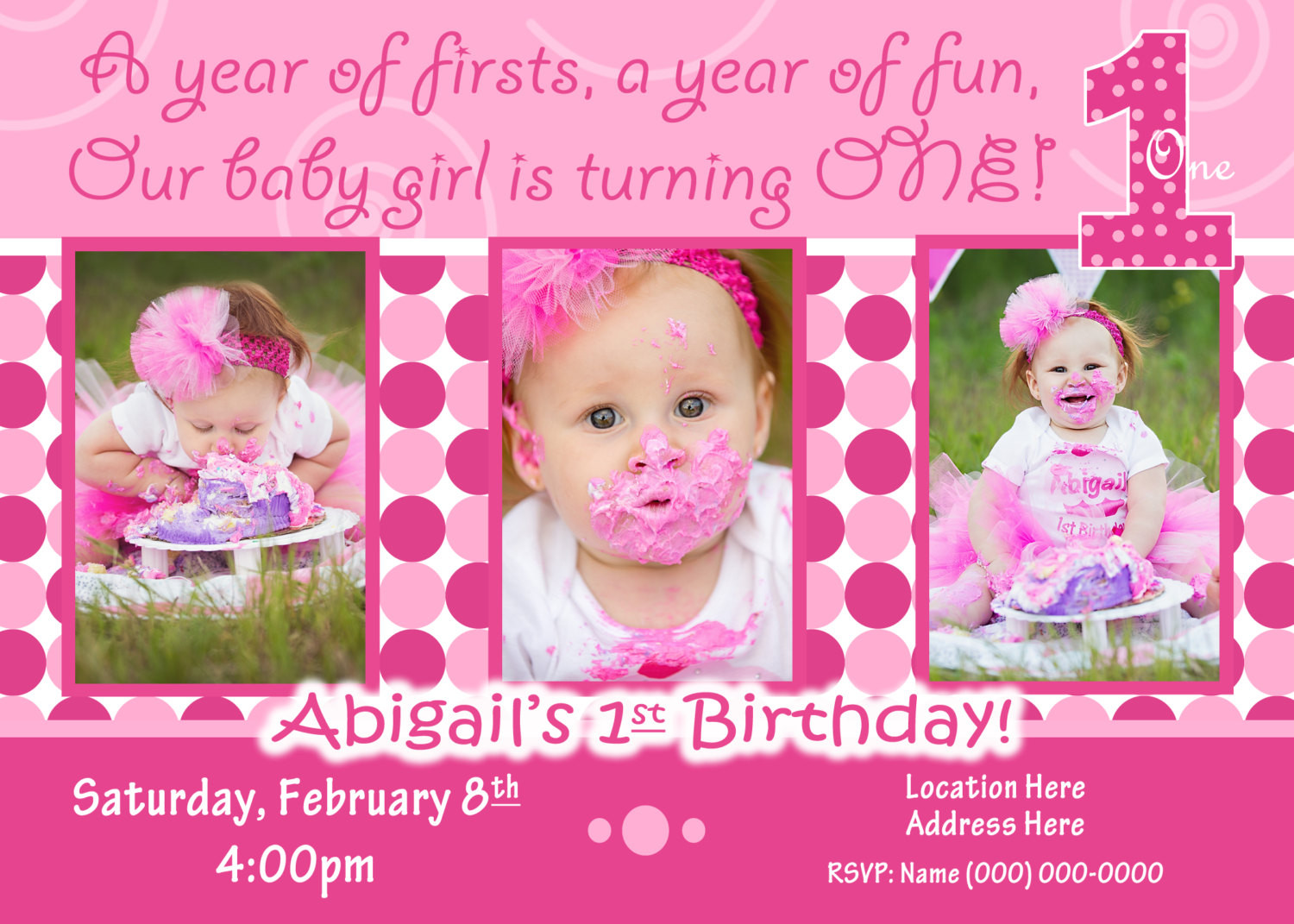 Best ideas about Girl First Birthday Invitations . Save or Pin 1st Birthday Girl invitation 1st birthday Girl invite Now.