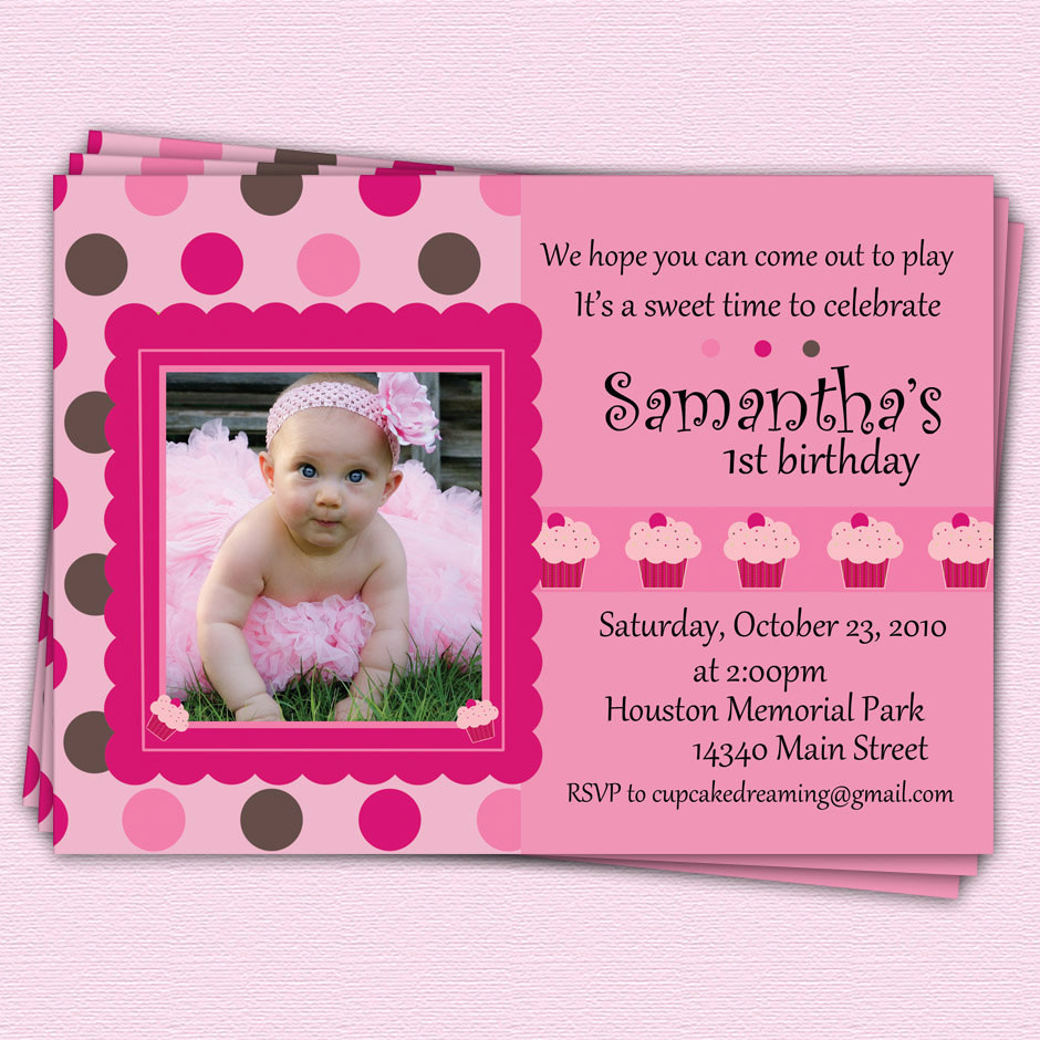 Best ideas about Girl First Birthday Invitations . Save or Pin First Birthday Invitations Cupcake Girl Polka Dot by Now.