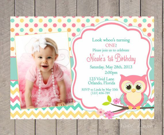 Best ideas about Girl First Birthday Invitations . Save or Pin Owl Birthday Invitation First Birthday Girl Teal Pink Now.