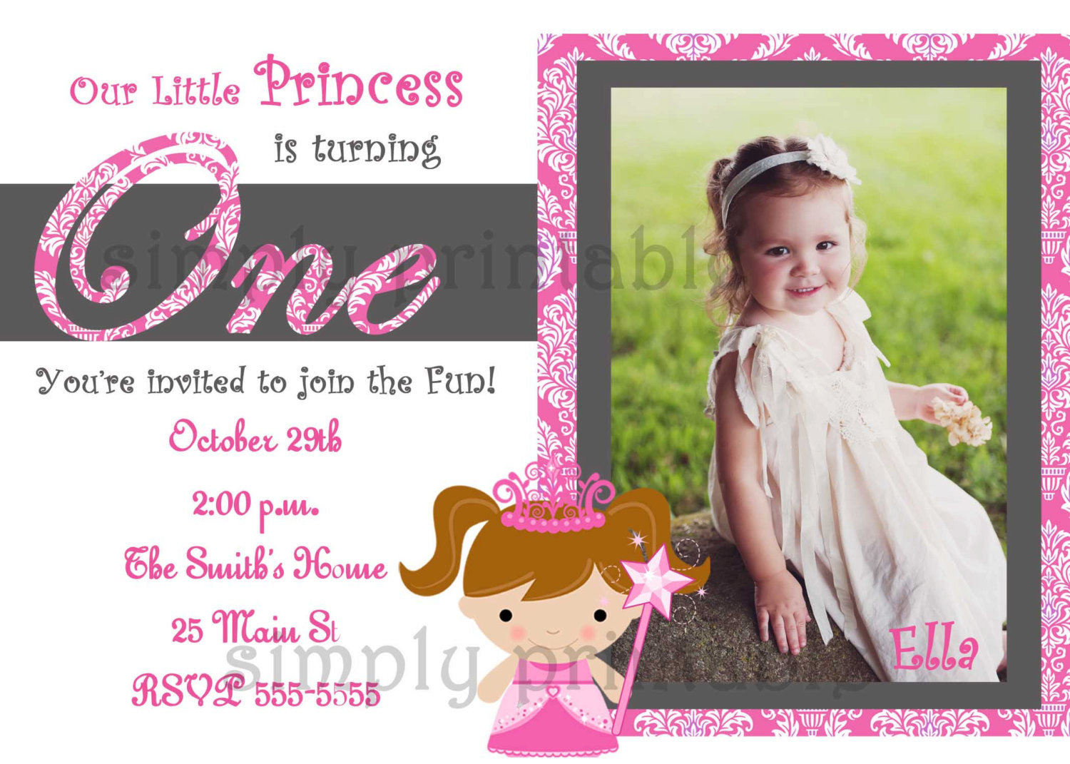 Best ideas about Girl First Birthday Invitations . Save or Pin Girls First Birthday Invitation for Princess Party Now.