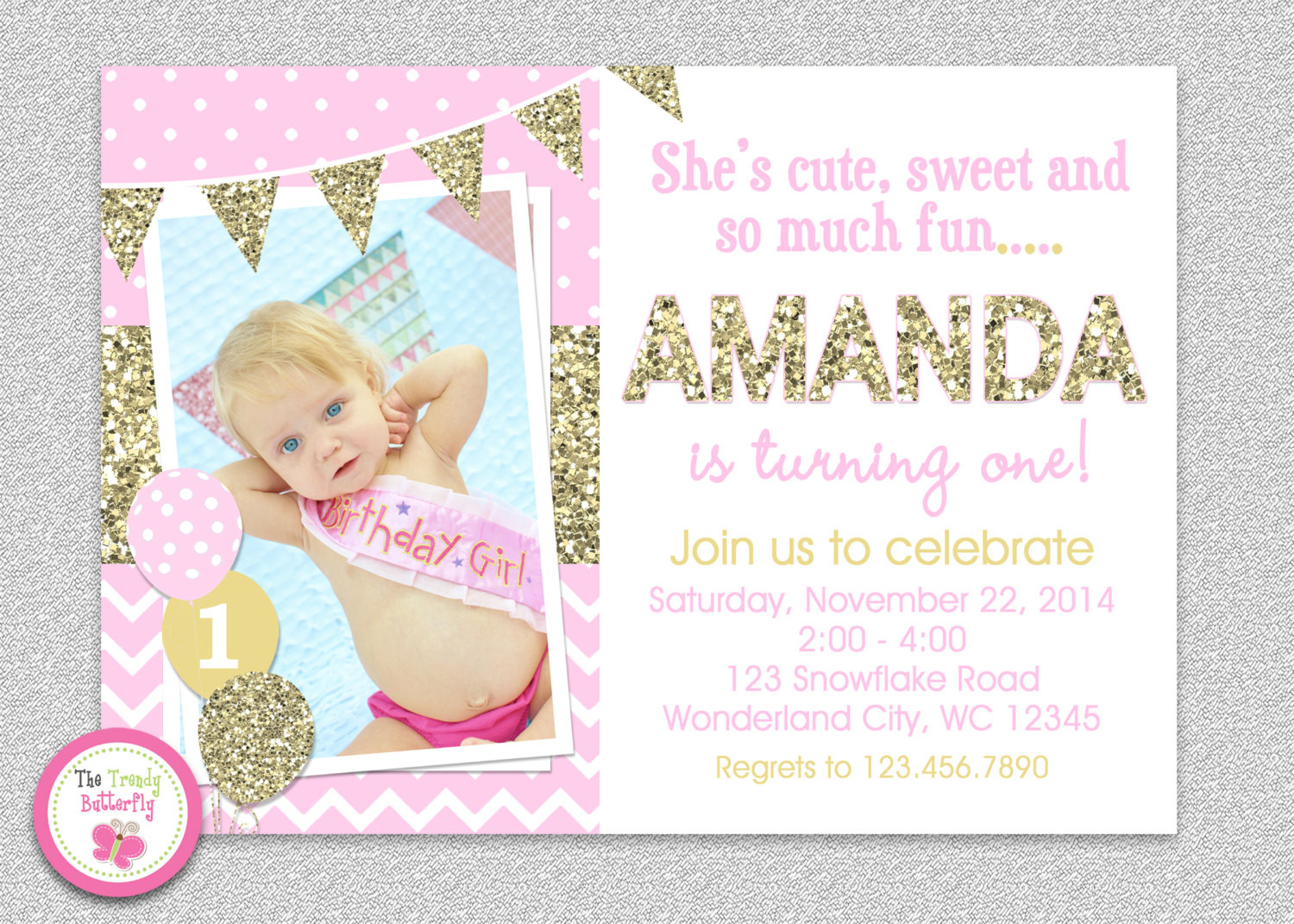 Best ideas about Girl First Birthday Invitations . Save or Pin Pink and Gold invitation 1st Birthday Invitation Girl Now.