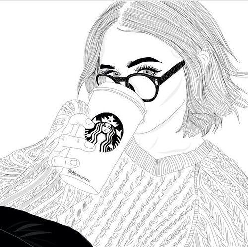 Best ideas about Girls Drinking Starbucks Coloring Sheets For Girls . Save or Pin Image via We Heart It art blackandwhite draw drawing Now.