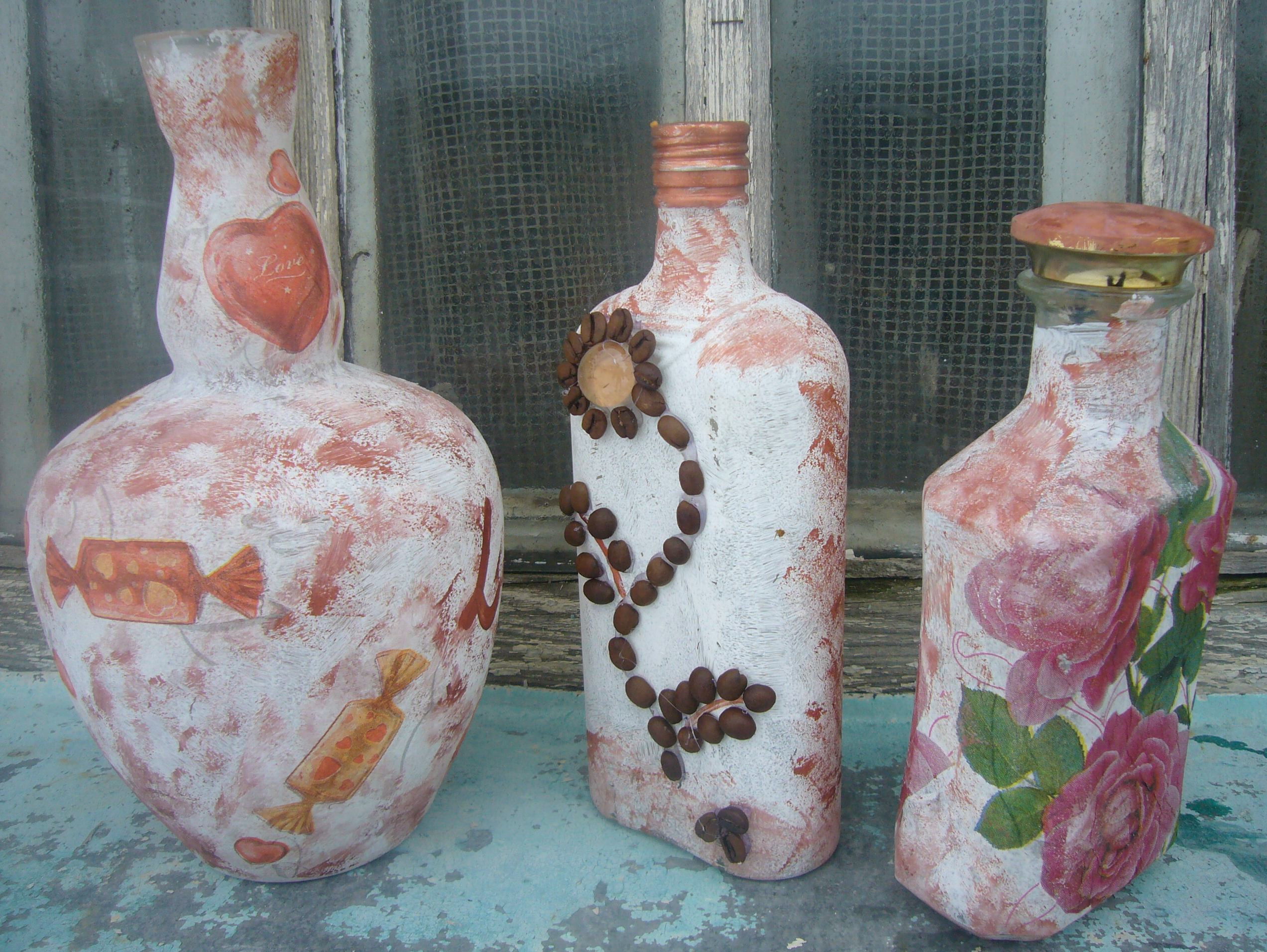 Best ideas about Glass Bottle Craft Ideas . Save or Pin Decoupage ideas pink rosebud glass bottle Now.