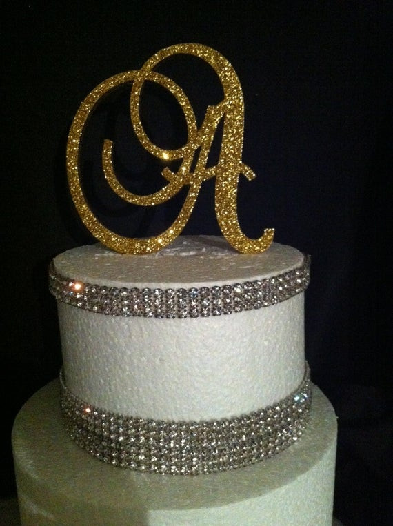 Best ideas about Glitter Birthday Cake . Save or Pin Glitter Cake Topper Monogram Cake Topper by Now.