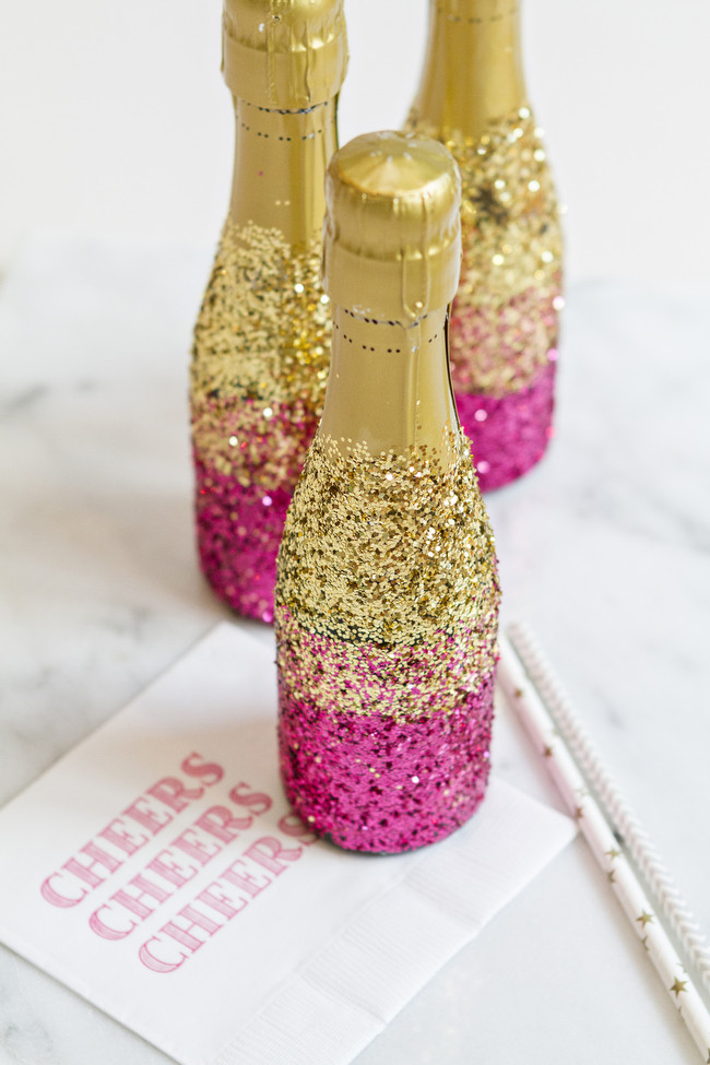 Best ideas about Glitter Wine Bottles DIY . Save or Pin DIY Glitter Champagne Bottles Now.