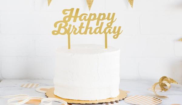 Best ideas about Gold Happy Birthday Cake Topper . Save or Pin Gold Acrylic Happy Birthday Cake Topper – Zurchers Now.