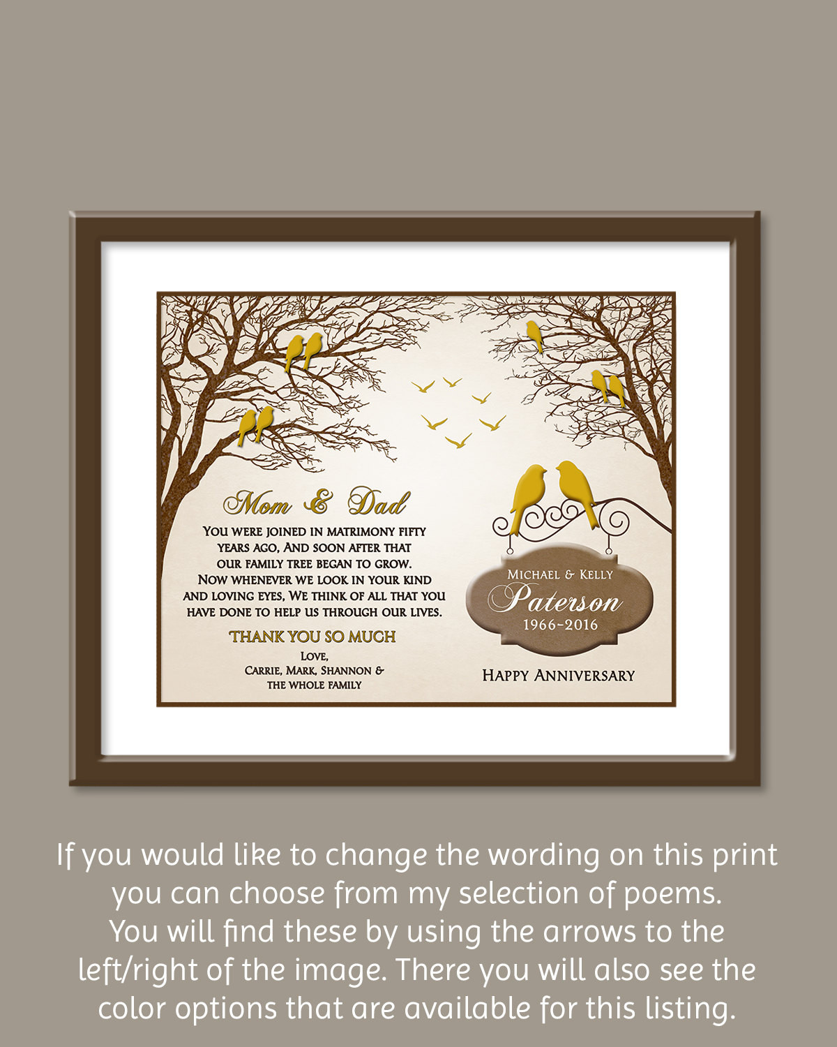 Best ideas about Golden Wedding Anniversary Gift Ideas For Parents . Save or Pin 50th Wedding Anniversary Gift Golden Wedding Anniversary Now.
