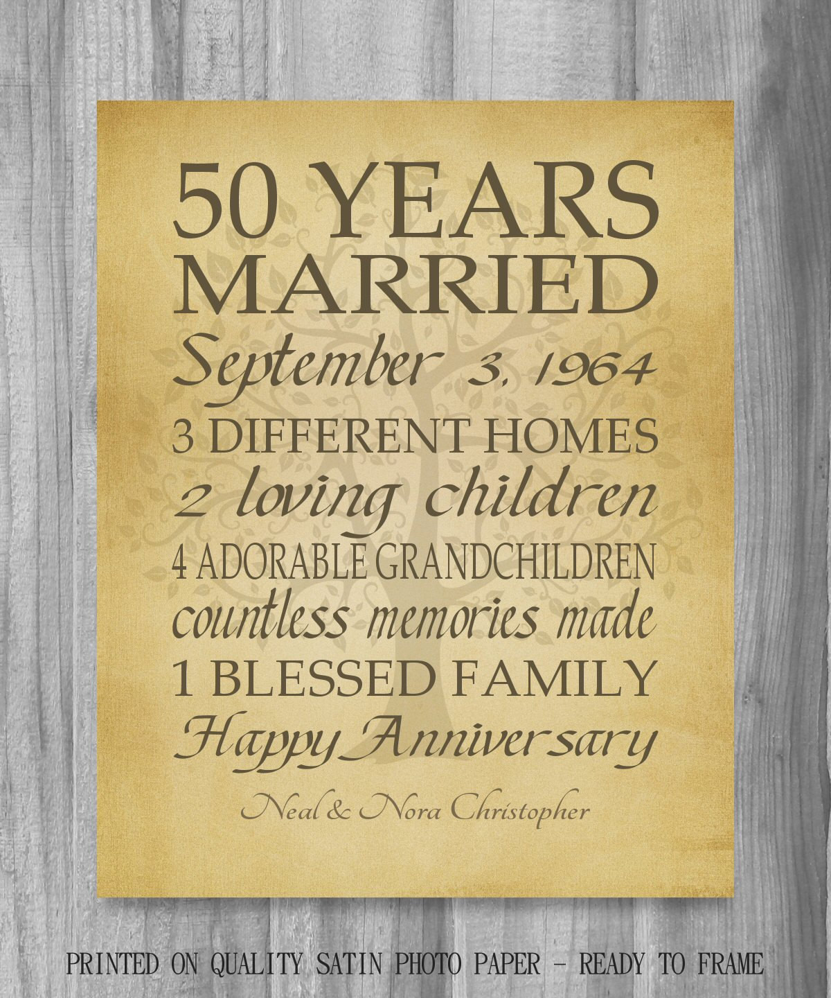 Best ideas about Golden Wedding Anniversary Gift Ideas For Parents . Save or Pin 50th Anniversary Gift Golden Anniversary 50 Years Personalized Now.