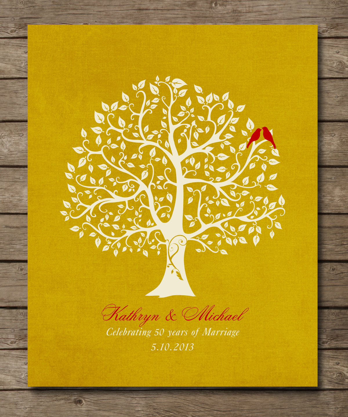 Best ideas about Golden Wedding Anniversary Gift Ideas For Parents . Save or Pin 50th Wedding Anniversary Tree Gift Golden by WordsWorkPrints Now.