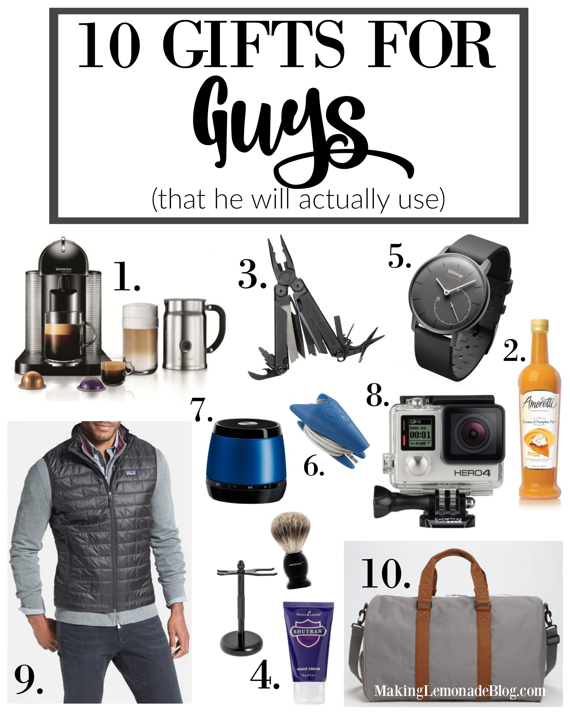 Best ideas about Good Gift Ideas For Men . Save or Pin 10 Best Gifts for Guys That He'll Actually Use Now.