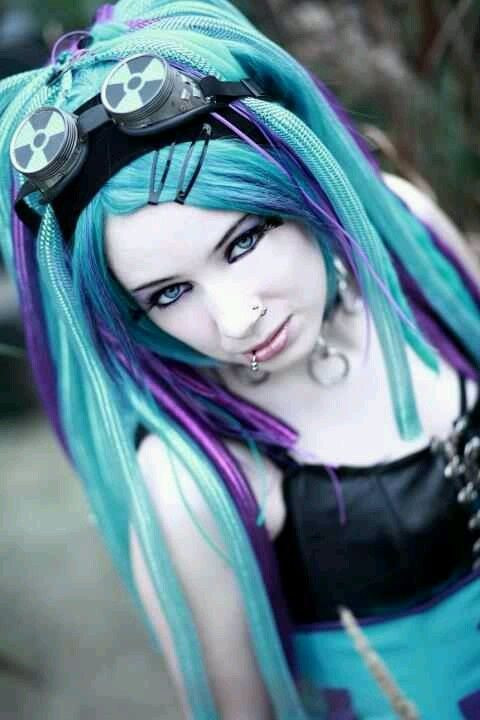 Best ideas about Goth Hairstyles For Girls . Save or Pin bright turquoise blue with purple accents Now.