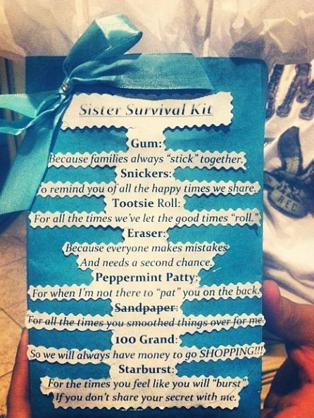 Best ideas about Graduation Gift Ideas For Sister . Save or Pin Family Reunion Survival Kit Google Search Now.
