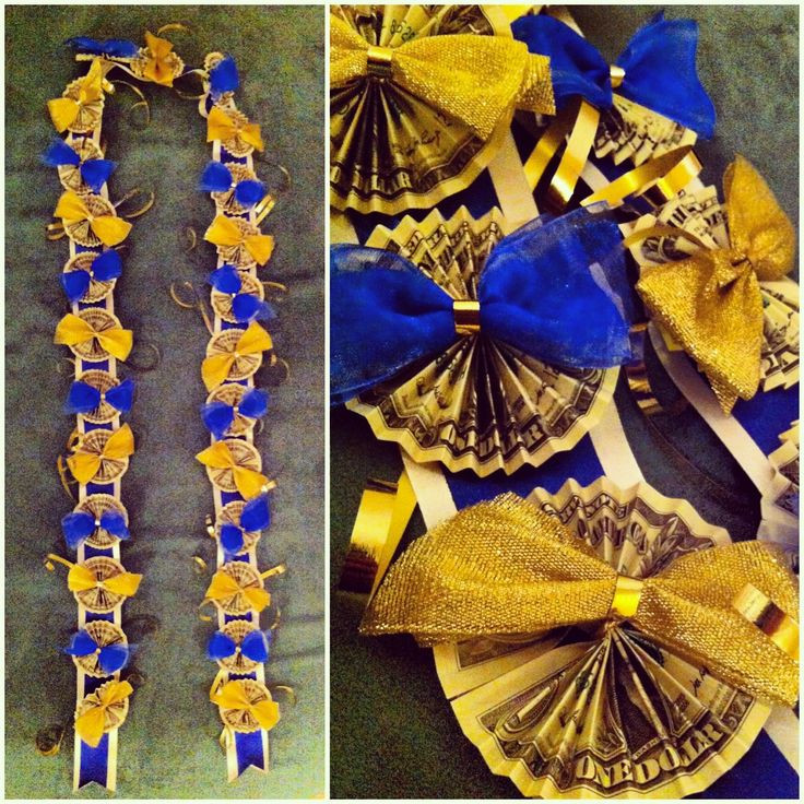 Best ideas about Graduation Leis DIY . Save or Pin DIY Graduation Money Lei in Blue and Gold Now.