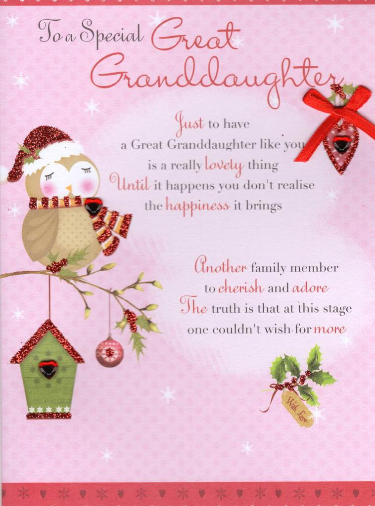Best ideas about Granddaughter Birthday Quotes . Save or Pin Great Granddaughter Christmas Greeting Card Traditional Now.