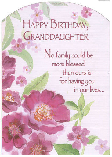 Best ideas about Granddaughter Birthday Wishes . Save or Pin Pink Flowers with Glitter Z Fold Granddaughter Birthday Now.