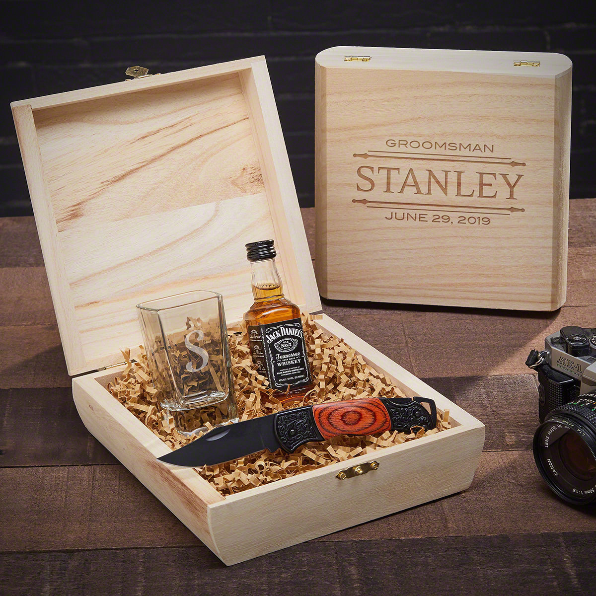 Best ideas about Groomsmen Gift Box Ideas . Save or Pin Stanford Shot Glass & Knife Custom Groomsmen Gift Box Now.