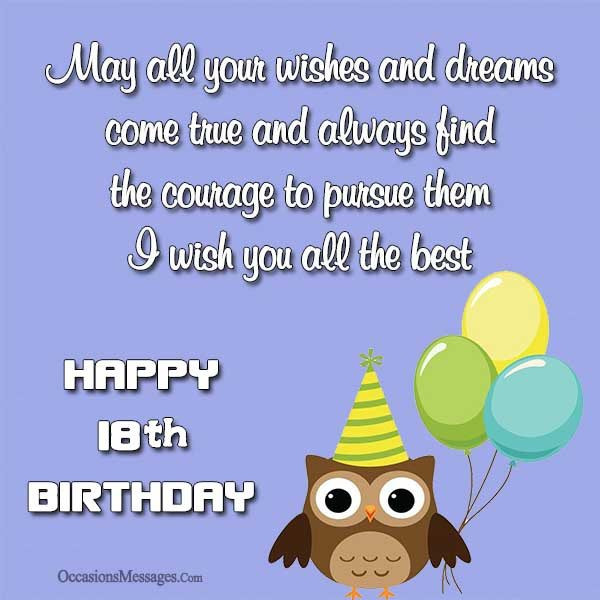Best ideas about Happy 18th Birthday Wishes . Save or Pin Happy 18th Birthday Wishes Occasions Messages Now.