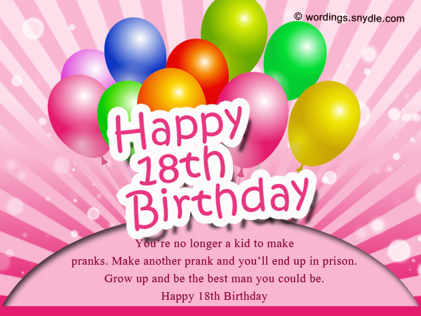 Best ideas about Happy 18th Birthday Wishes . Save or Pin 18th Birthday Wishes Greeting and Messages Wordings and Now.