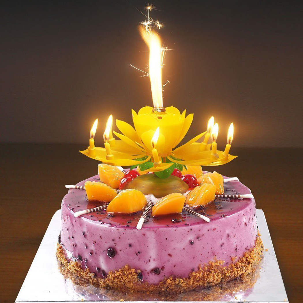 Best ideas about Happy Birthday Cake With Candles . Save or Pin Party Lotus Flower Decoration Birthday Candle Double deck Now.