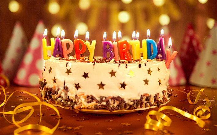 Best ideas about Happy Birthday Cake With Candles . Save or Pin Download wallpapers Happy Birthday 4k birthday cake Now.