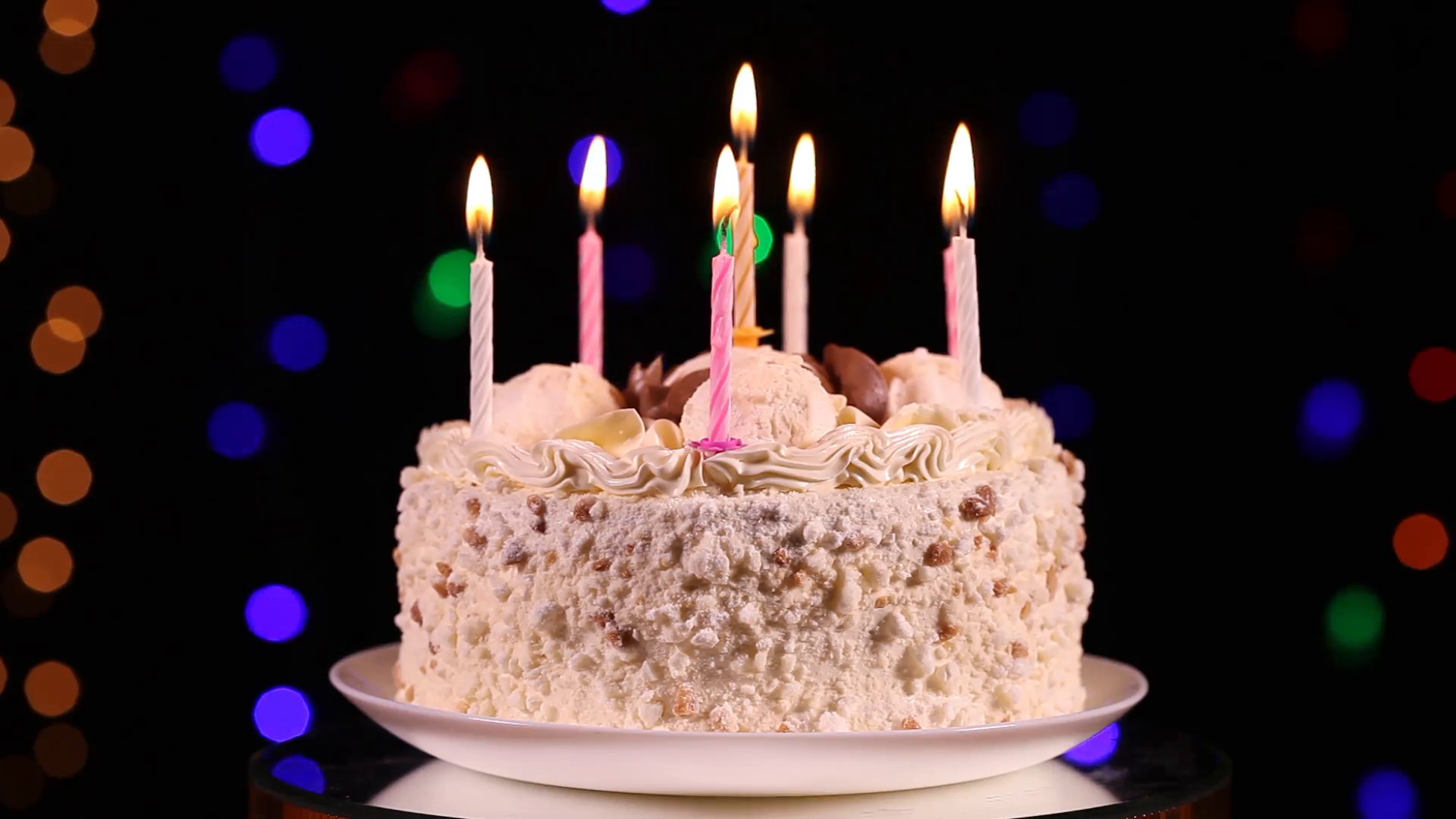 Best ideas about Happy Birthday Cake With Candles . Save or Pin Happy Birthday cake with burning candles in front of black Now.