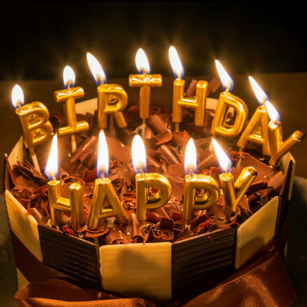 Best ideas about Happy Birthday Cake With Candles . Save or Pin NEW Gold Color Birthday Cake Candles Decorations Happy Now.