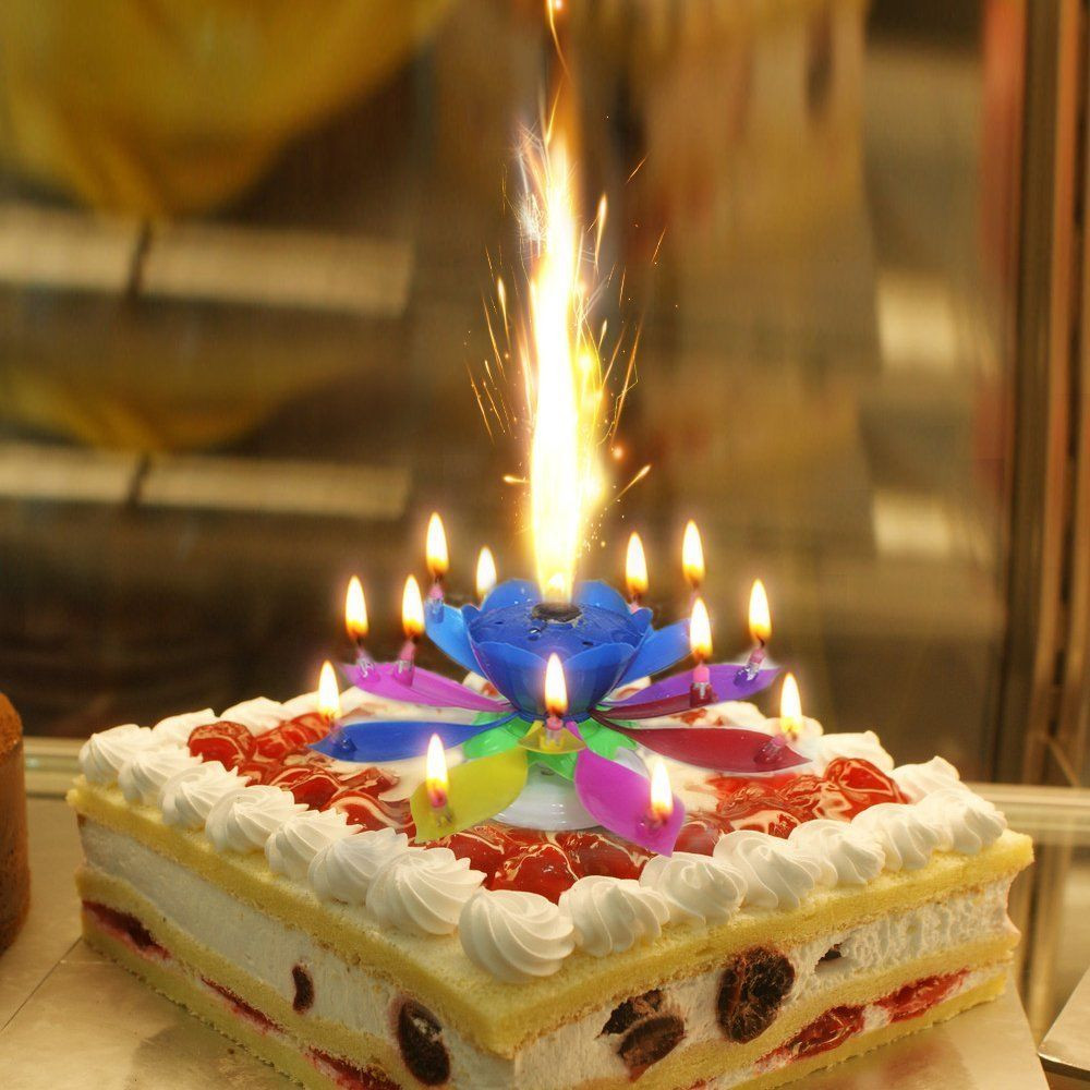 Best ideas about Happy Birthday Cake With Candles . Save or Pin Music Singing Candle Spin Lotus Happy Birthday Wedding Now.