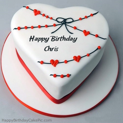 Best ideas about Happy Birthday Chris Cake . Save or Pin Red White Heart Happy Birthday Cake For Chris Now.