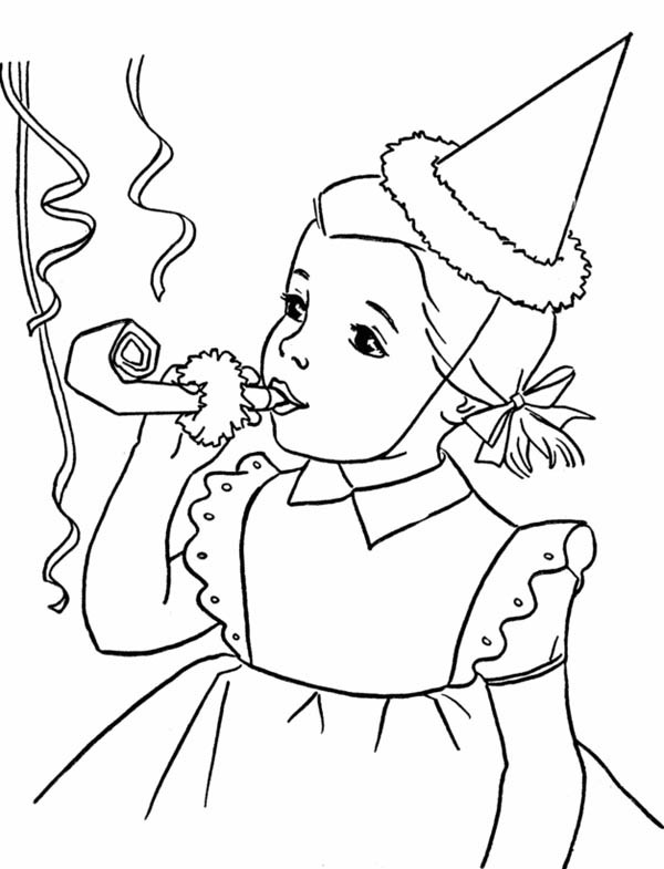 Best ideas about Happy Birthday Coloring Pages For Girls . Save or Pin Happy Birthday Girl Blowing A Horn Coloring Page Color Luna Now.