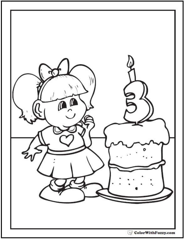 Best ideas about Happy Birthday Coloring Pages For Girls . Save or Pin 55 Birthday Coloring Pages Customizable PDF Now.