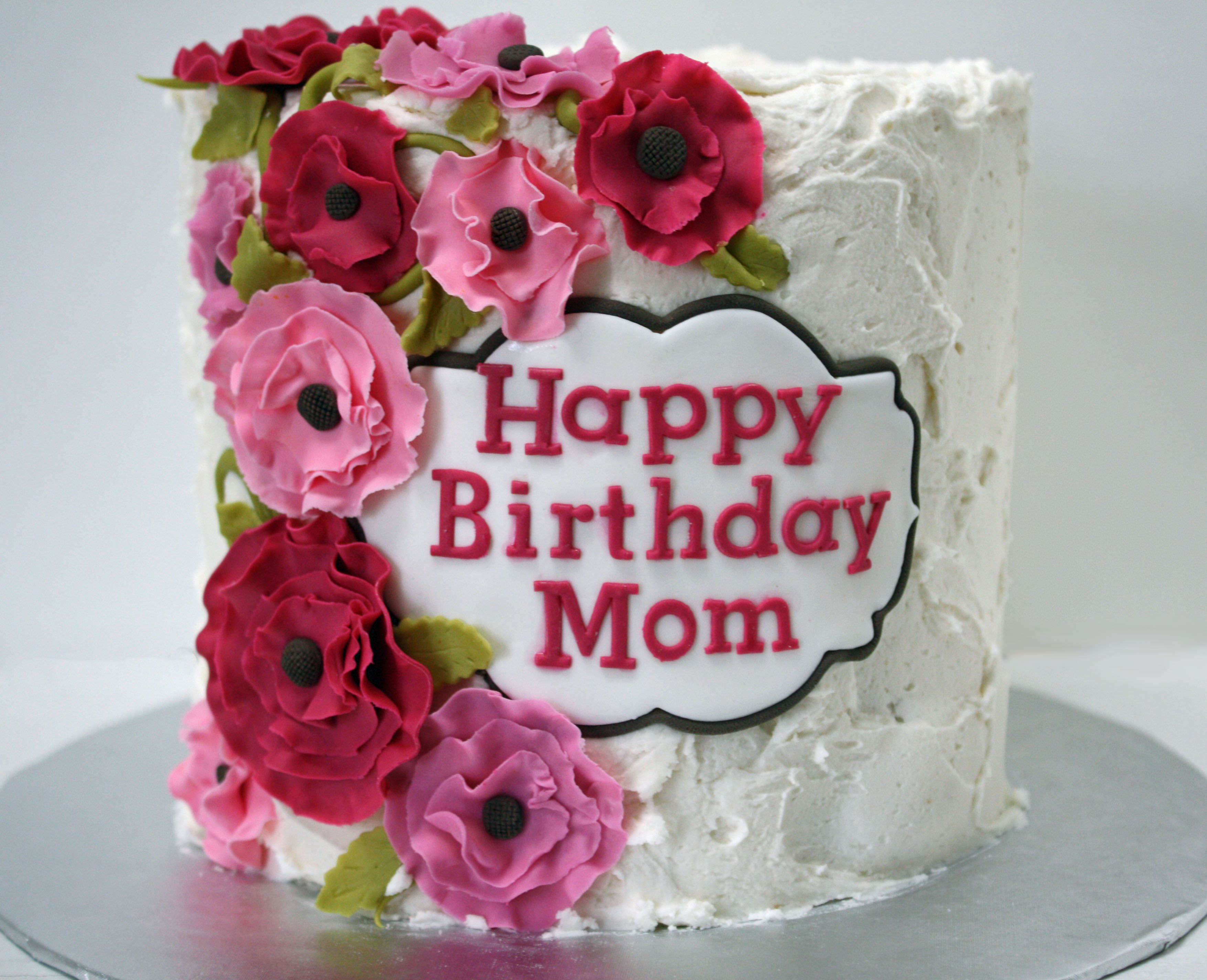 Best ideas about Happy Birthday Mom Cake . Save or Pin Happy Birthday Mom cake with pink flowers Frosted Bake Now.