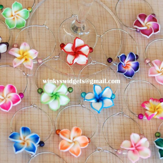 Best ideas about Hawaiian Gift Ideas . Save or Pin Frangipani Wine Glass Charms party t idea decoration Now.