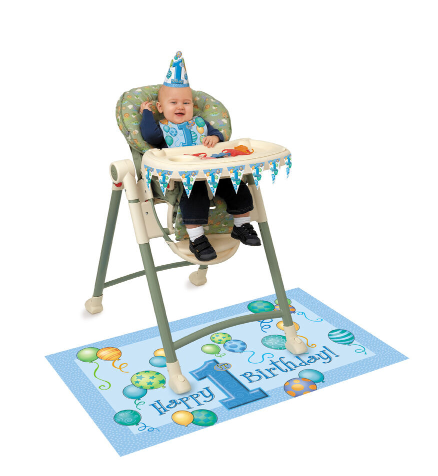 Best ideas about High Chair Decorations 1st Birthday Boy . Save or Pin BOY 1st FIRST Birthday Party BLUE Baby High chair Now.