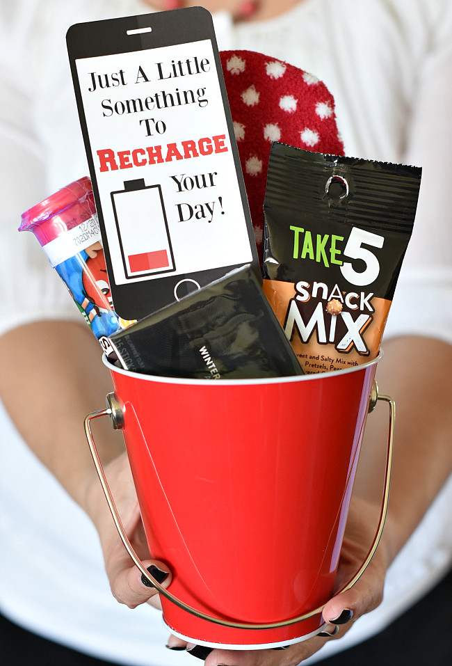 Best ideas about Homemade Cheer Gift Ideas . Save or Pin Recharge Gift Idea – Fun Squared Now.
