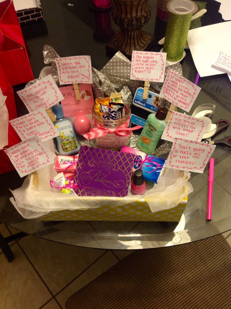 Best ideas about Homemade Cheer Gift Ideas . Save or Pin DIY Cheerleader GIft Basket Now.